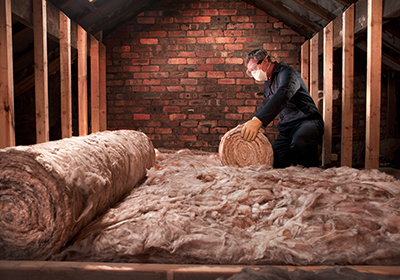 Installing insulation in an attic