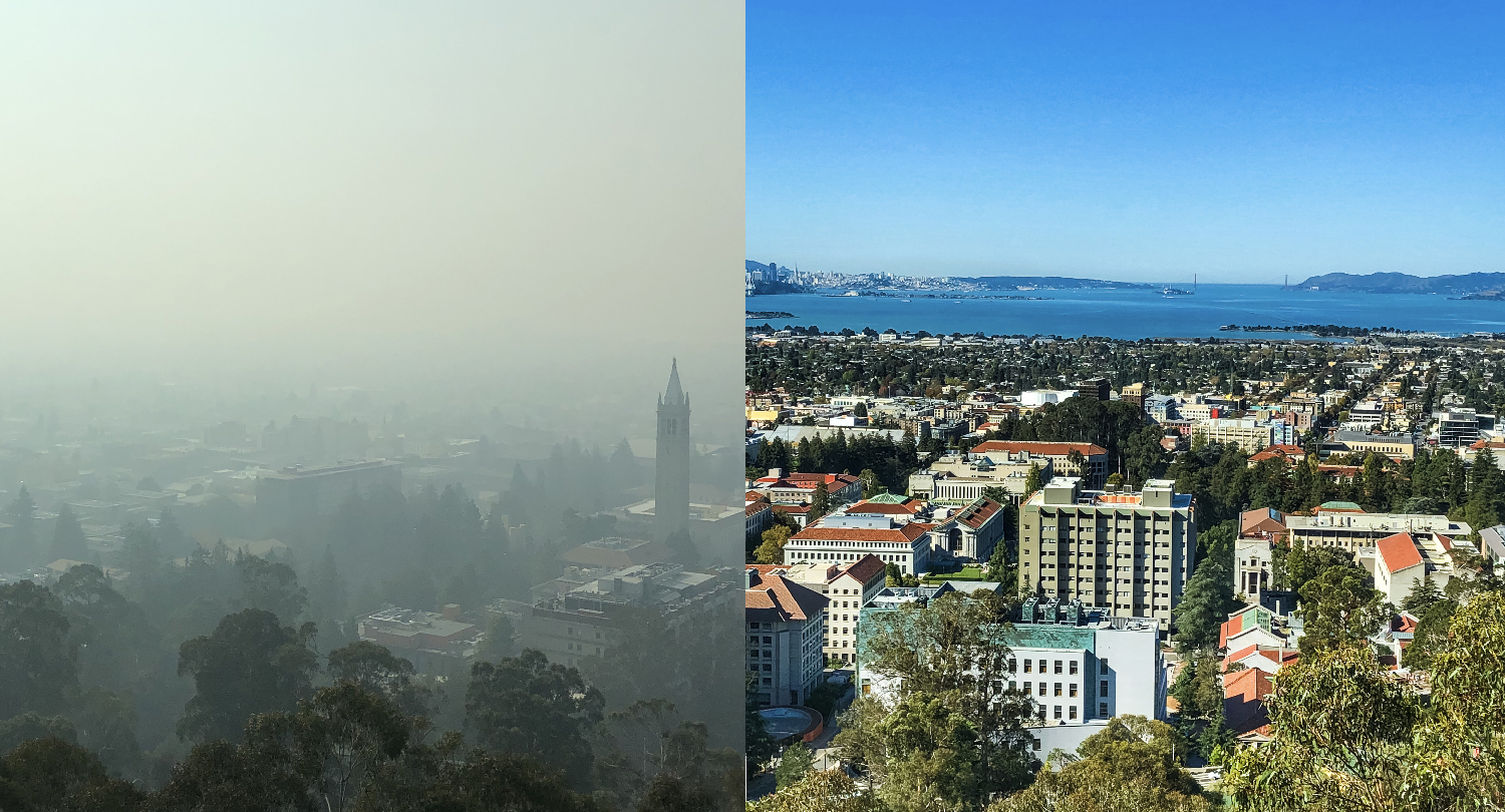 A comparison of air quality in the Bay Area. On the right the Golden Gate Bridge can be seen; on the left smoke obscures most of the city of Berkeley.