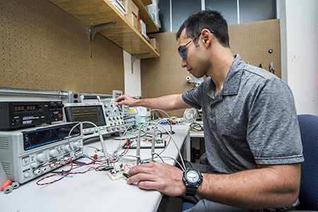 Daniel Gerber at work in the electronics lab