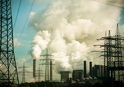 power plant emitting carbon pollution