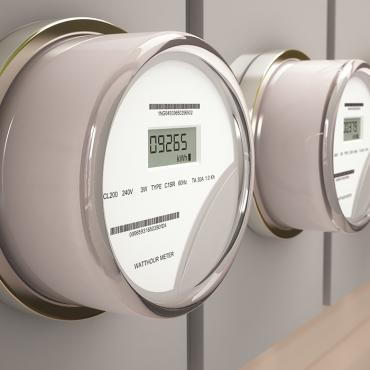 A row of electrical meters