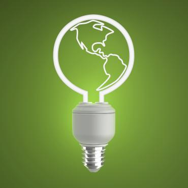 green globe light bulb