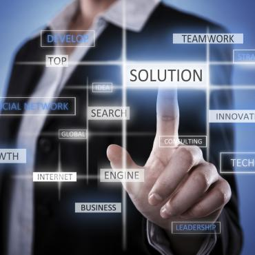 "person selecting ""solution"" out of other options"