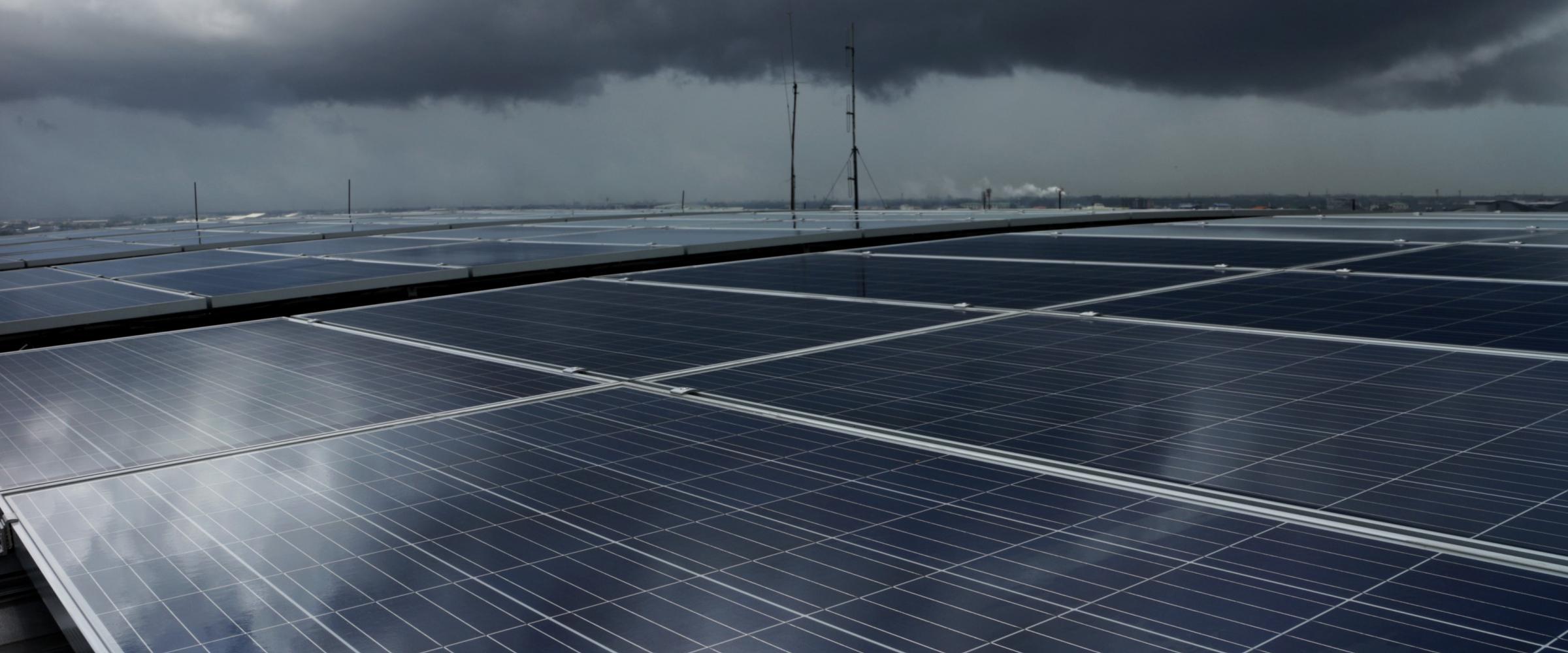cloudy solar panels